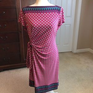 Donna Morgan Faux Wrap Dress Sz 14